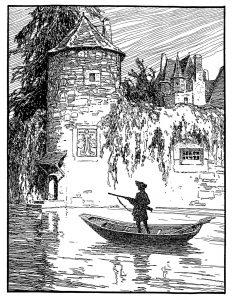 """Otto Ubbelohde zeichnete """"der gelernte Jäger"""". Ein Jäger steht mit Gewehr im Anschlag in einem Boot vor einer Burg."""