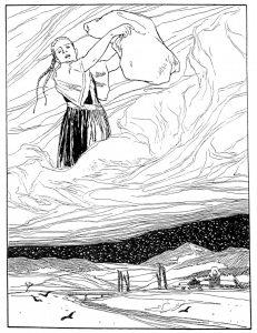 Frau Holle schüttelt die Betten über dem Lahntal aus. Zeichnung von Otto Ubbelohde.