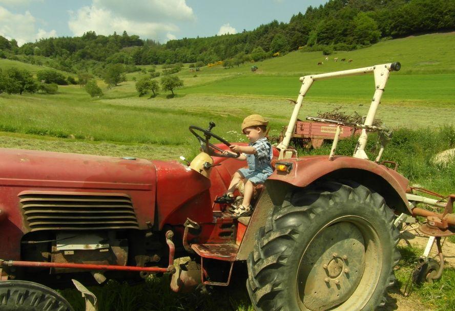 Ein Kleinkind sitzt auf einem Traktor der über eine grüne Wiese fährt.