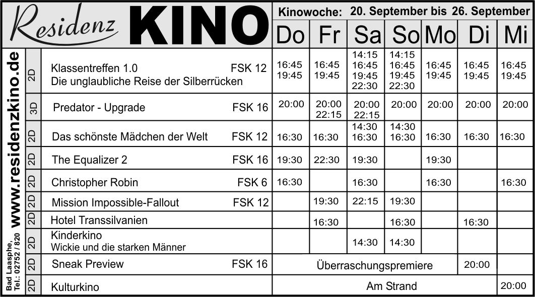 Residenz Kino Bad Laasphe Programm