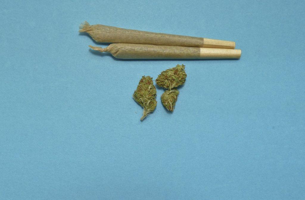 2 Joints und etwas Marihuana auf blauem Untergrund