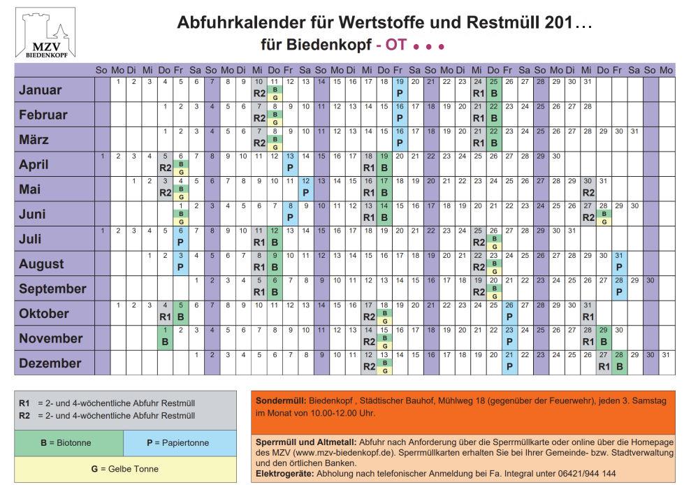 Ein Abfuhrkalender mit den Terminen fürs ganze Jahr.