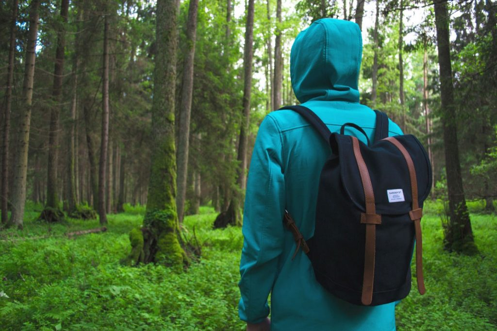 Ein Wanderer mit Rucksack im tiefen Wald.Trägt eine smaragdfarbene Jacke und hat die Kapuze übergezogen.