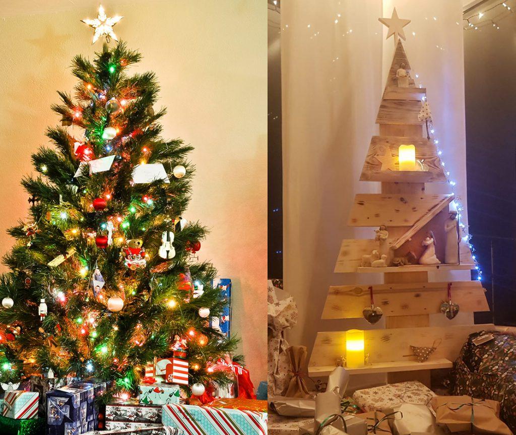 2 Fotos: links ein klassischer Nadelbaum, bunt geschmückt, rechts ein baumförmiges Regal aus Fichtenbrettern mit integrierter Krippe.