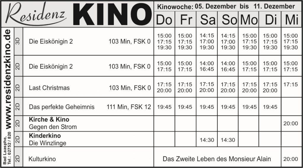 Das Programm vom Residenz-Kinocenter. Die Filme sind tabellarisch mit den Präsentationszeiten angeführt.