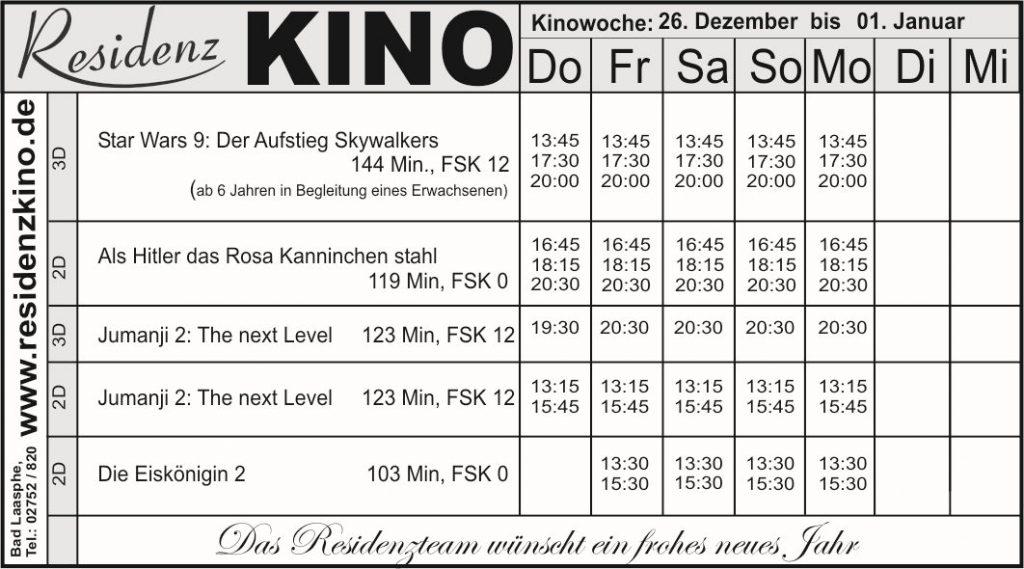 Das Kinoprogramm mit den aktuellen Filmen als Tabelle.