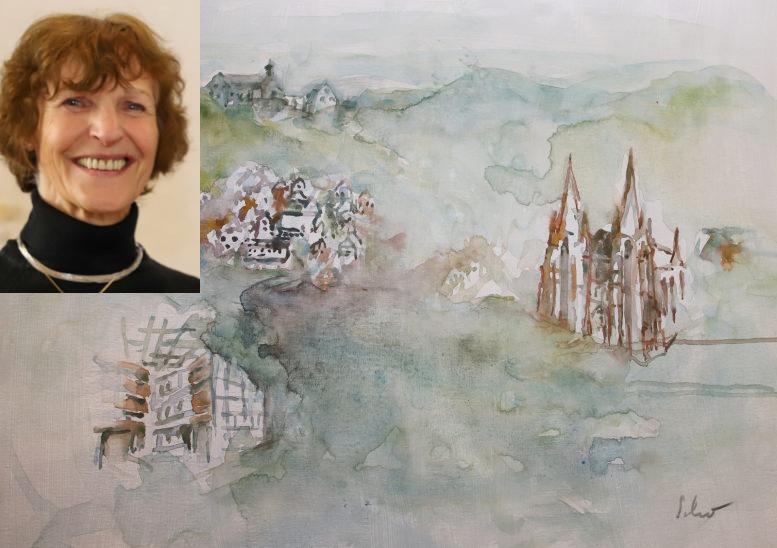 Die Aquarell-Collage von Marburg. Mit Elisabethkirche und Fachwerkhäusern. Das Foto der Künstlerin ist eingeklinkt. Sie hat kurze, rötliche Locken.