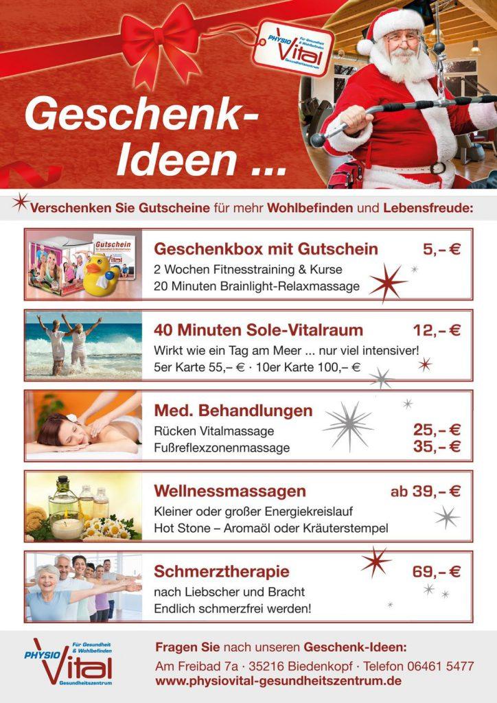 Oben der Nikolaus im Fitnessstudio. Darunter die verschiedenen Gutscheinangebote - für Sole Vitalraum, Schmerztherapie oder Wellnessmassagen.
