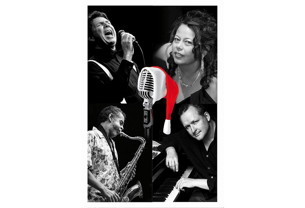 Die vier Musiker (darunter eine Frau) als Collage ins Bild gesetzt. In der Mitte prangt ein Mikrofon der 50er Jahre, mit roter Nikolausmütze drauf.