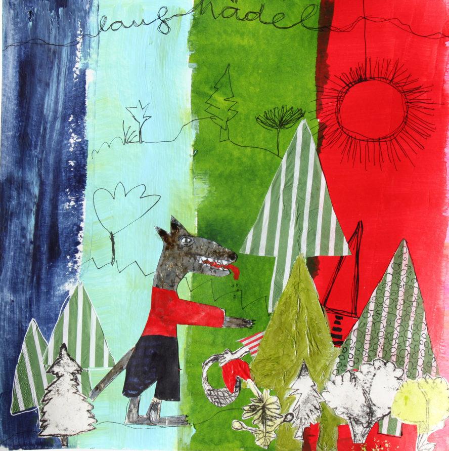 Rotkäppchen und der Wolf - künstlerisch verfremdetes Foto in plakativen Farben.