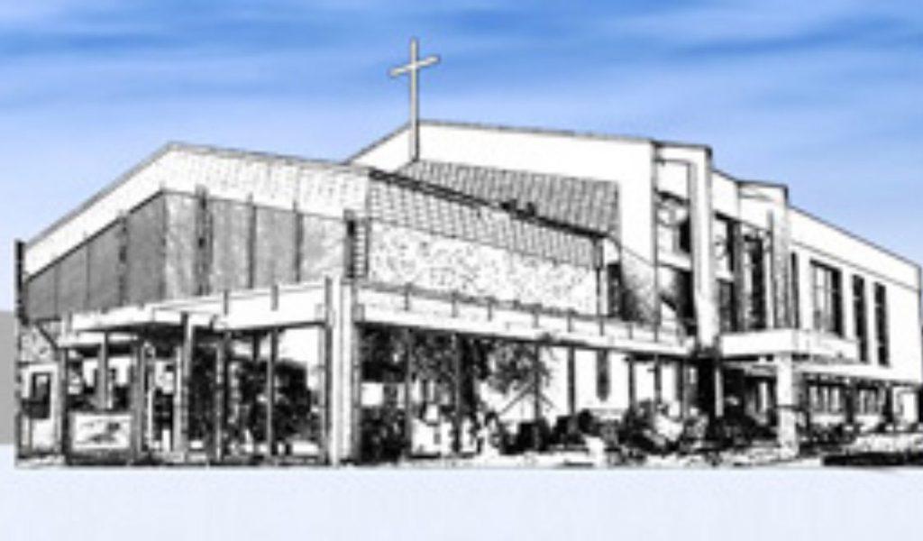 Eine Skizze vom Gemeindehaus der FeG Weidenhausen vor blauem Hintergrund. Auf dem Gebäude ist ein großes Kreuz zu sehen.