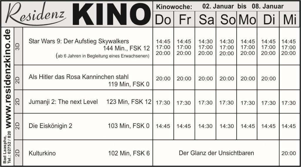 Tabelle mit den aktuellen FIlmen im Residenzkino.