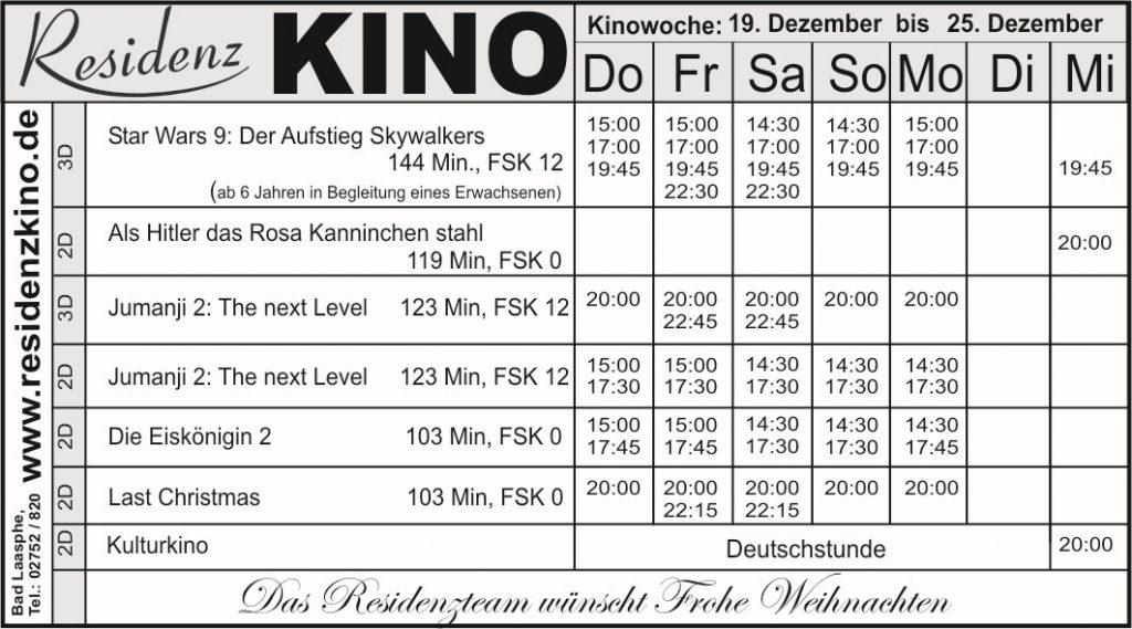 Das Kinoprogramm im Residenzkino. Eine Tabelle mit den aktuellen Filmen.