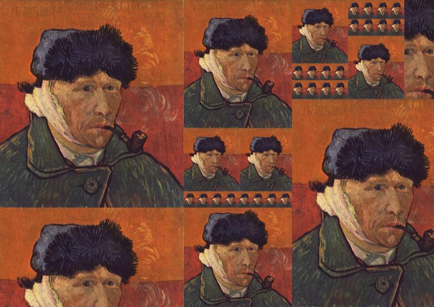 Selbstporträt von Van Gogh - mit verbundenem Ohr.