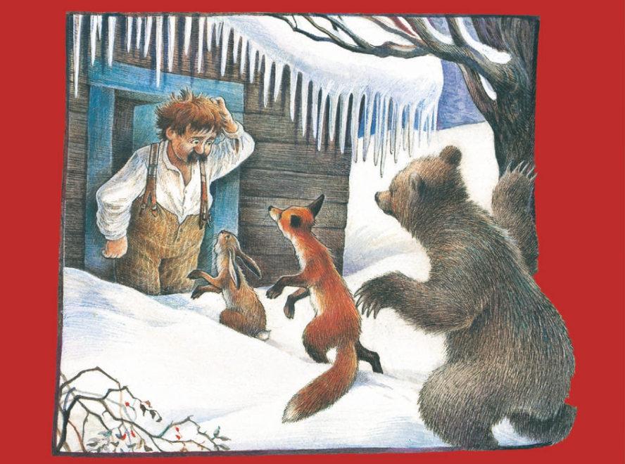 Eine Kinderzeichnung. Wanja steht vor seiner Holzhütte im Schnee, davor Hase, Fuchs und Bär.