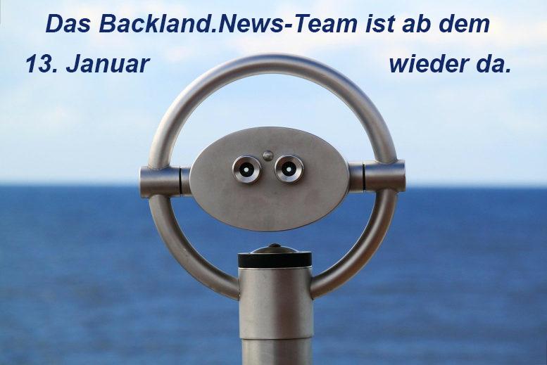 """Ein Periskop, dahinter nur Meer und blauer Himmel. Schriftzug: """"Das Backland.News-Team ist ab dem 13. Januar wieder da."""