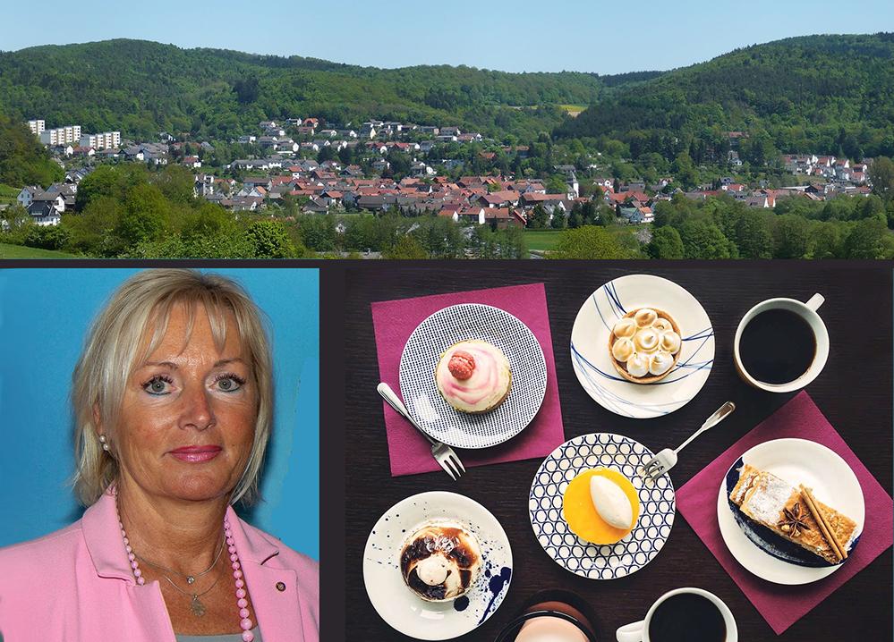 Eine Collage. Aufnahme von Buchenau, Dr. Kristina Sinemus und Geschirr mit Kaffee und Kuchen.