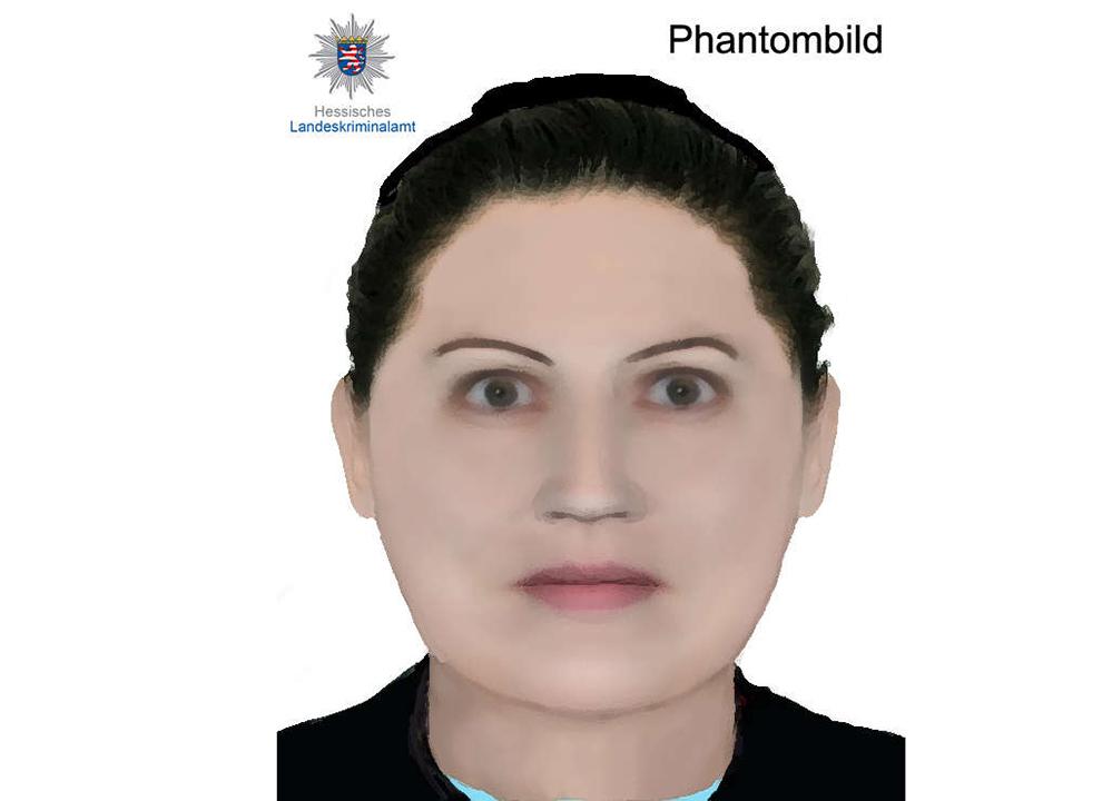 Phantomzeichnung einer ausländisch anmutenden Frau mit zurückgesteckter Frisur.