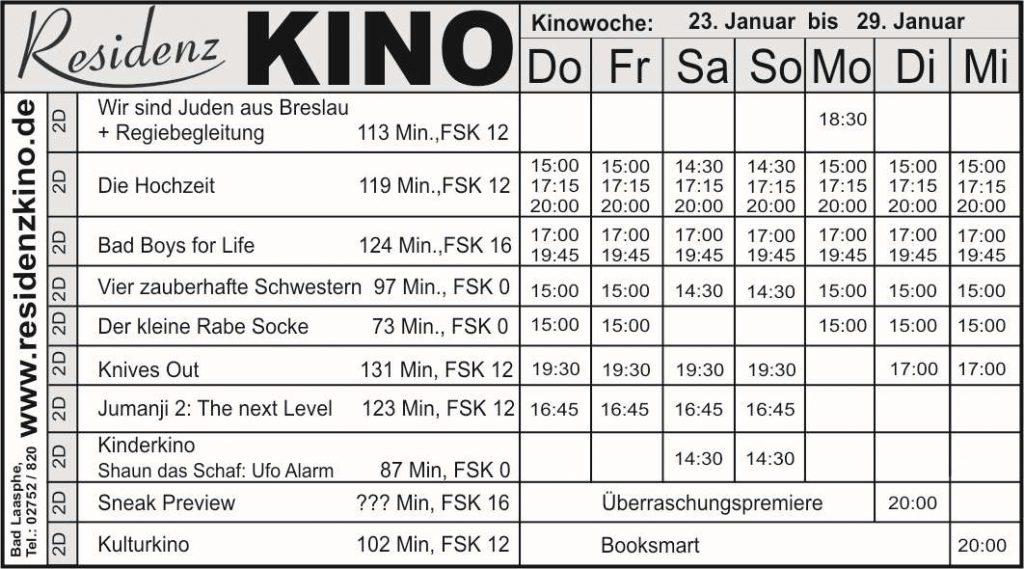 Aktueller Plan des Residenzkinos mit den Filmen der Woche.