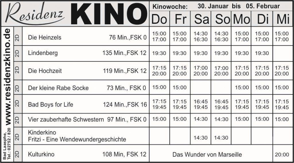Kinoprogramm-Tabelle mit Uhrzeiten und Datum