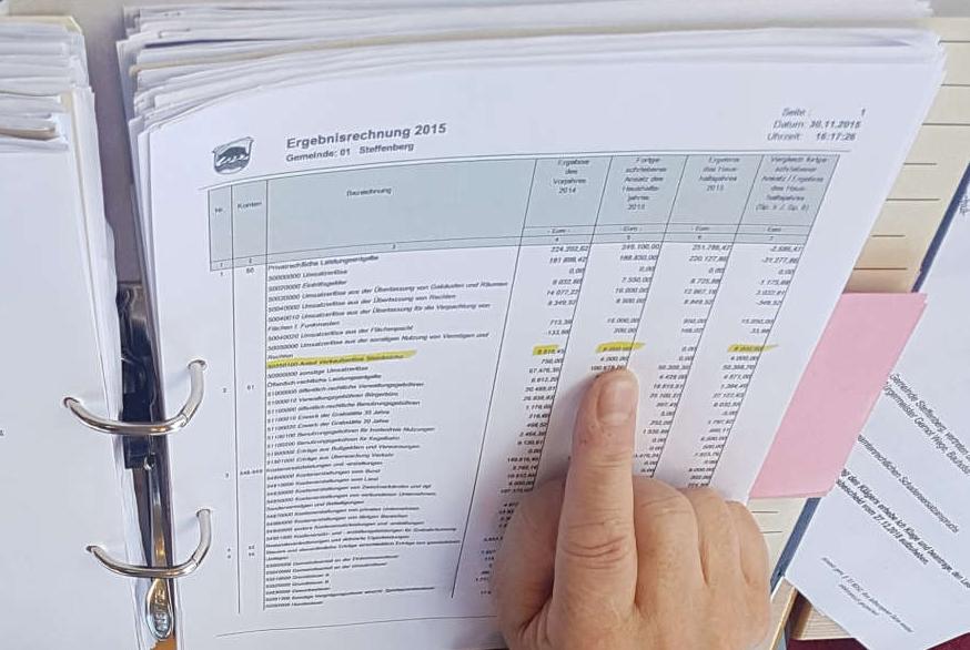 Aktenordner, Aufgeschlagen mit einer Ergebnisrechnung. Finger zeigt markierten Textbereich.