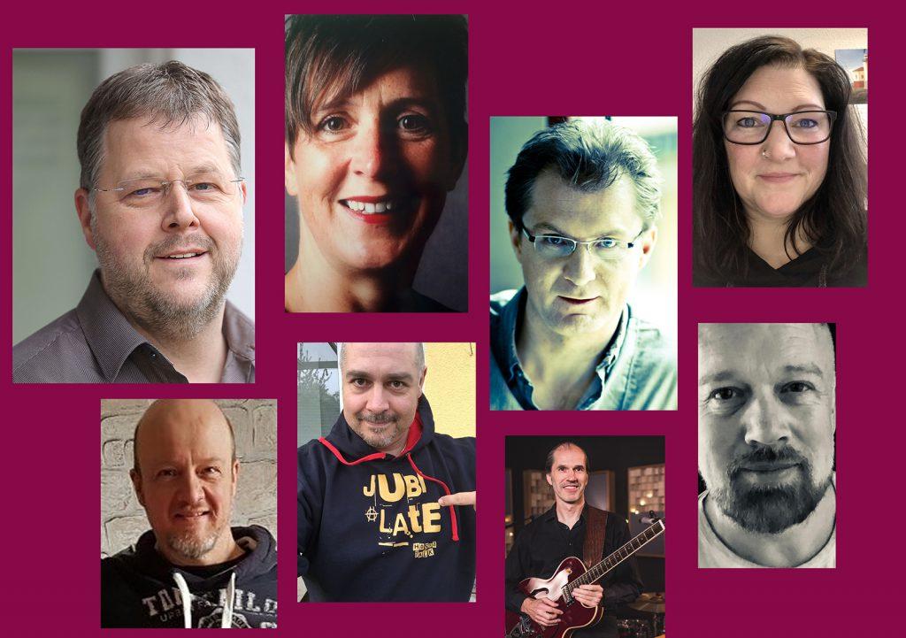 Collage mit Porträts der acht Musiker.