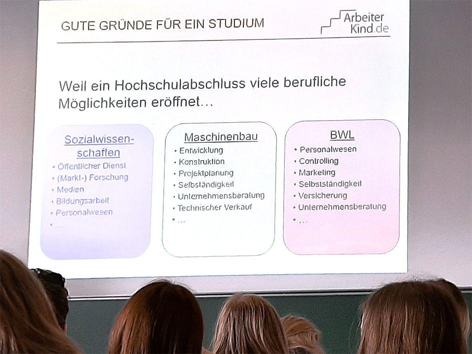 Hinterköpfe von Schülern und vorn eine Präsentation über Hochschul-Werdegänge.
