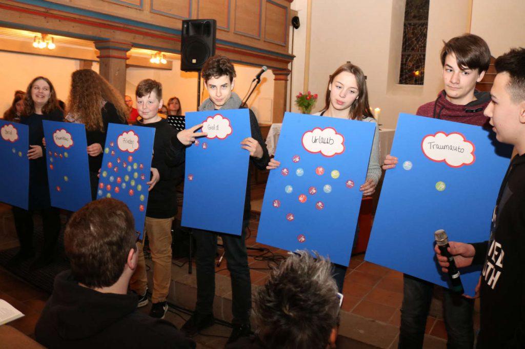 6 Jugendliche halten in der Kirche Plakate hoch. Blau mit Wolken drauf.