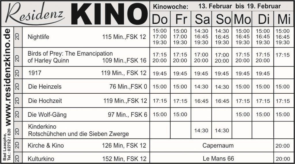 Tabelle. Aktuelles Kinoprogramm.