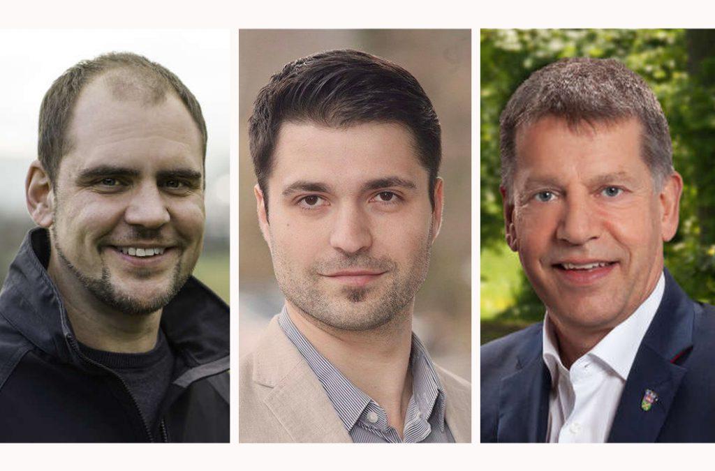 Die Porträts aller drei Bürgermeisterkandidaten nebeneinander.