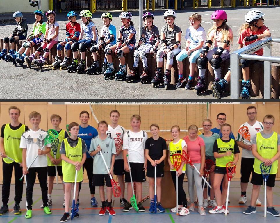 Collage. Oben: 12 kleine Ferienspieler in Inliner-Outfit. Sitzend. Unten 16 Intercrosse-Spieler in der Sporthalle.