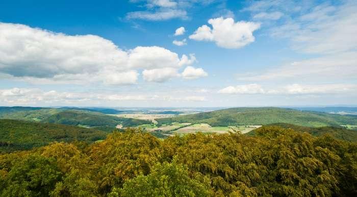 Das Lahn-Dill-Bergland unter blauem Himmel. Wälder und Wiesen.