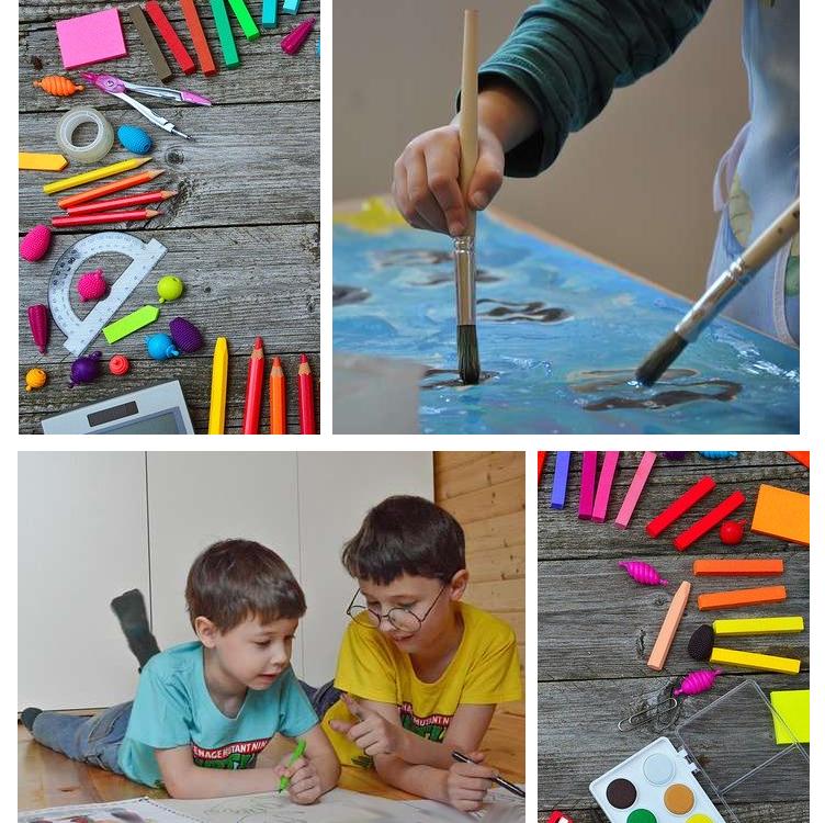 Collage mit malenden Kindern und Malutensilien.