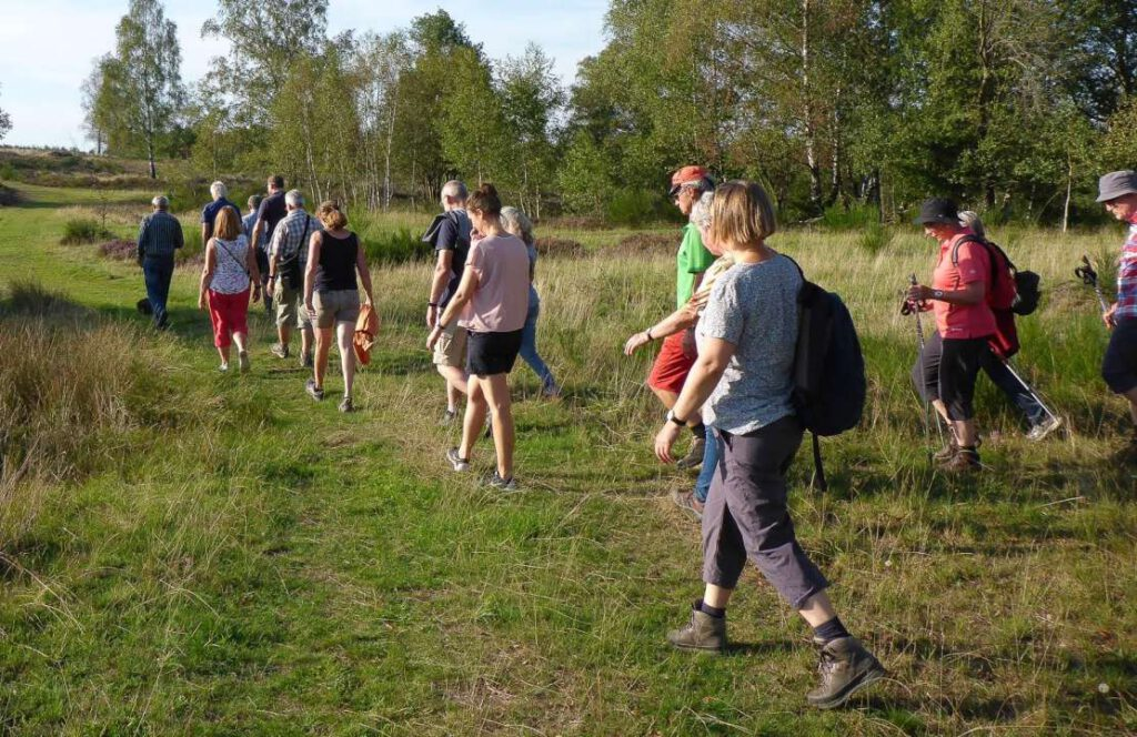 Eine Wandergruppe (Frauen und Männer) laufen über einen Gras-PFad.