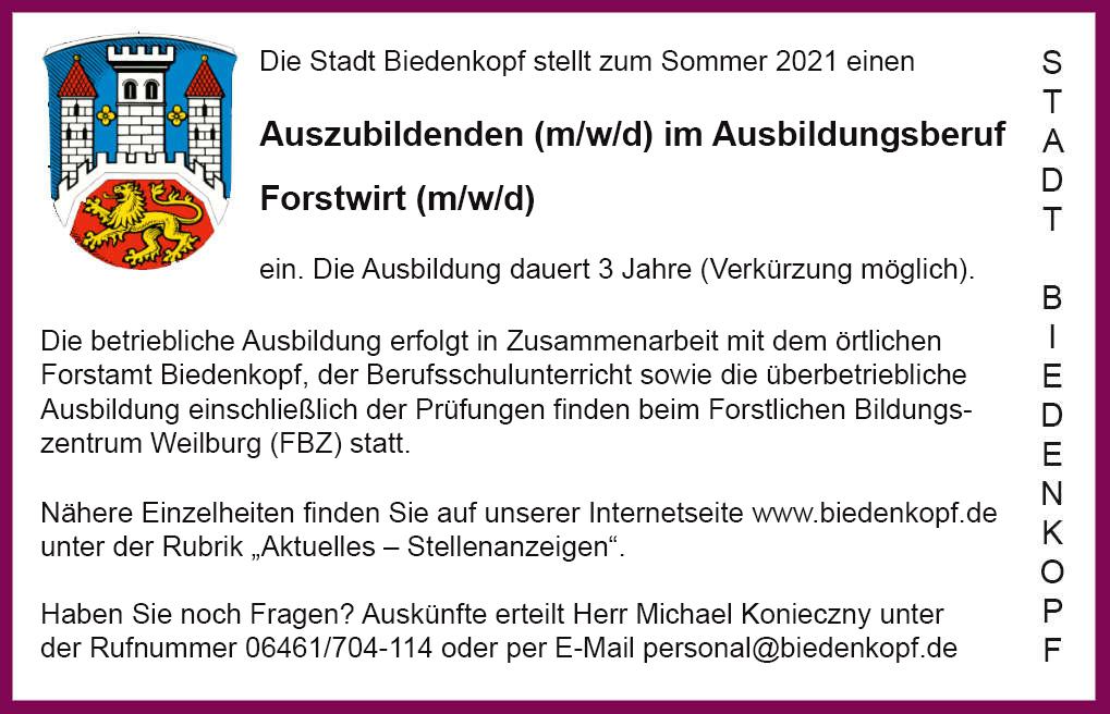 Stellenanzeige Azubi Forstwirt.