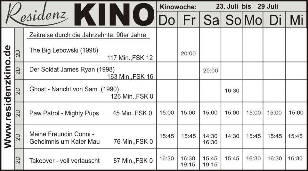 Kinoprogramm in tabellarischer Form.