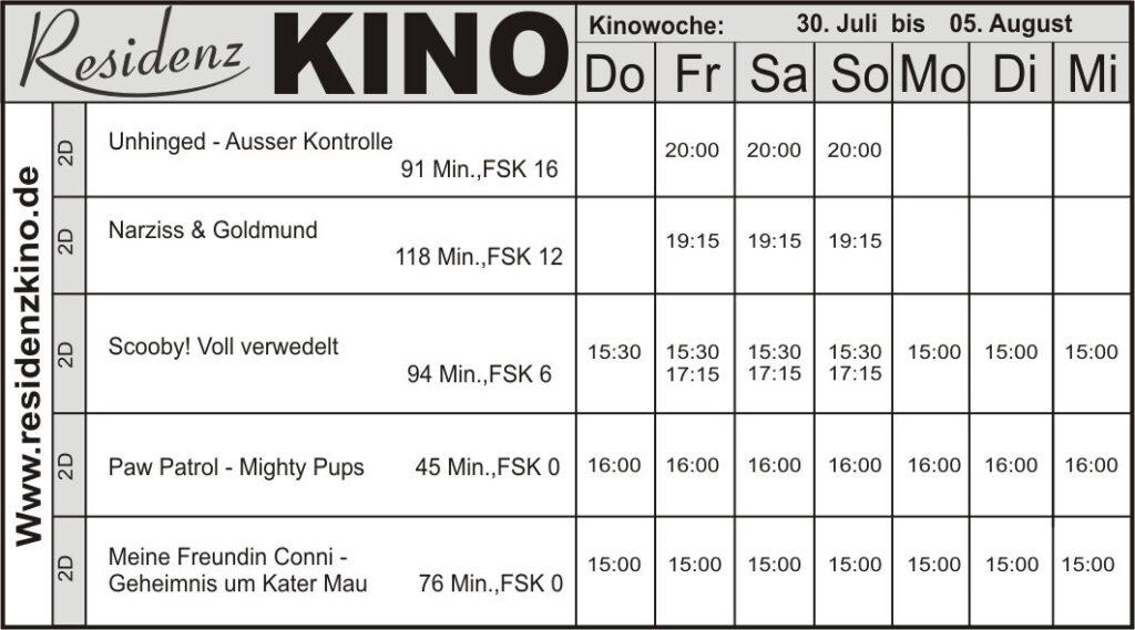 Kinoprogramm-Tabelle