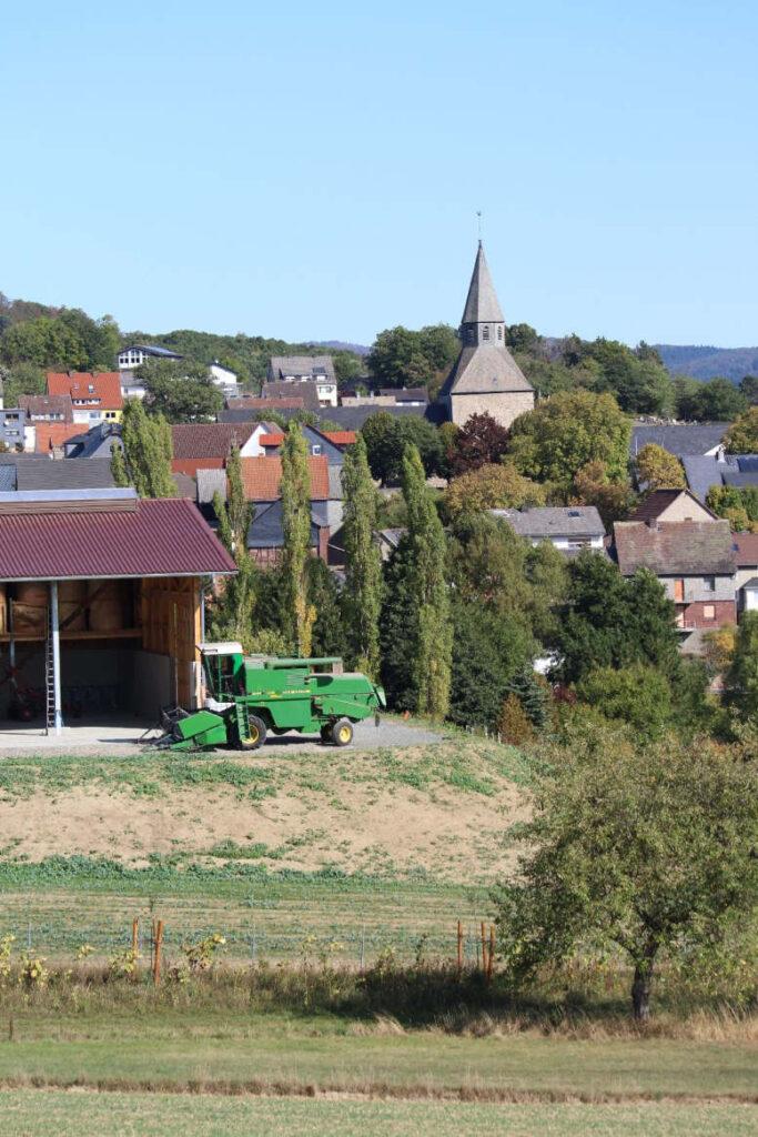 Eine Wiese in Dautphe mit Kirche im Hintergrund