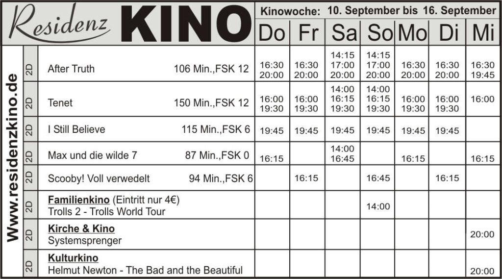 Das aktuelle Kinoprogramm im Residenz-Kinocenter.