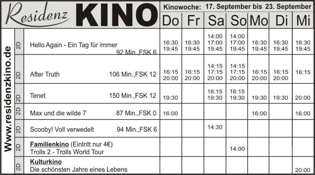 Das Kinoprogramm der Woche - im Residenzkino Bad Laasphe.