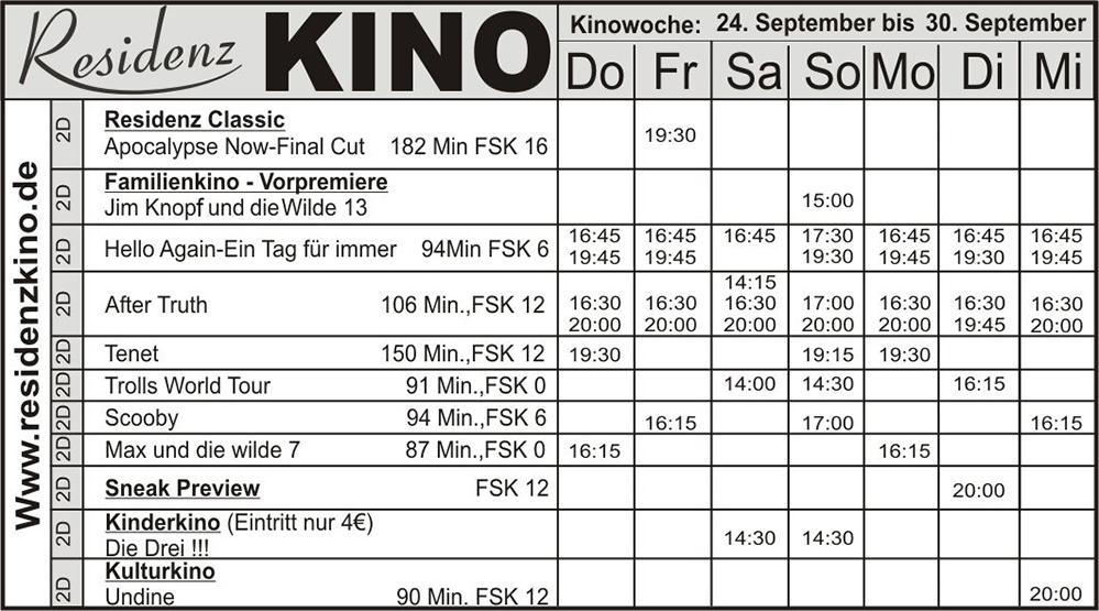 Das aktuelle Programm im Residenz-kino Bad Laasphe.