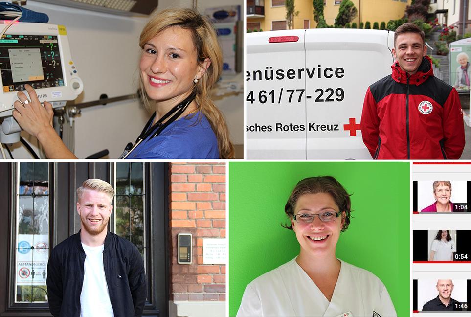 Collage mit Bildern verschiedener Rotkreuz-Mitarbeiter.