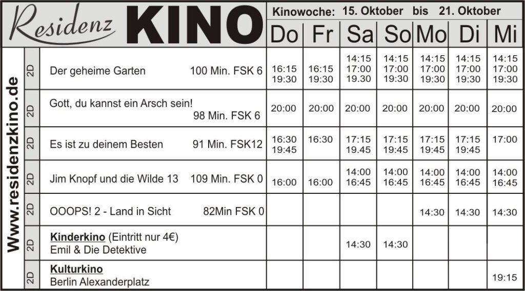 Das aktuelle Programm im Residenzkino Bad Laasphe.