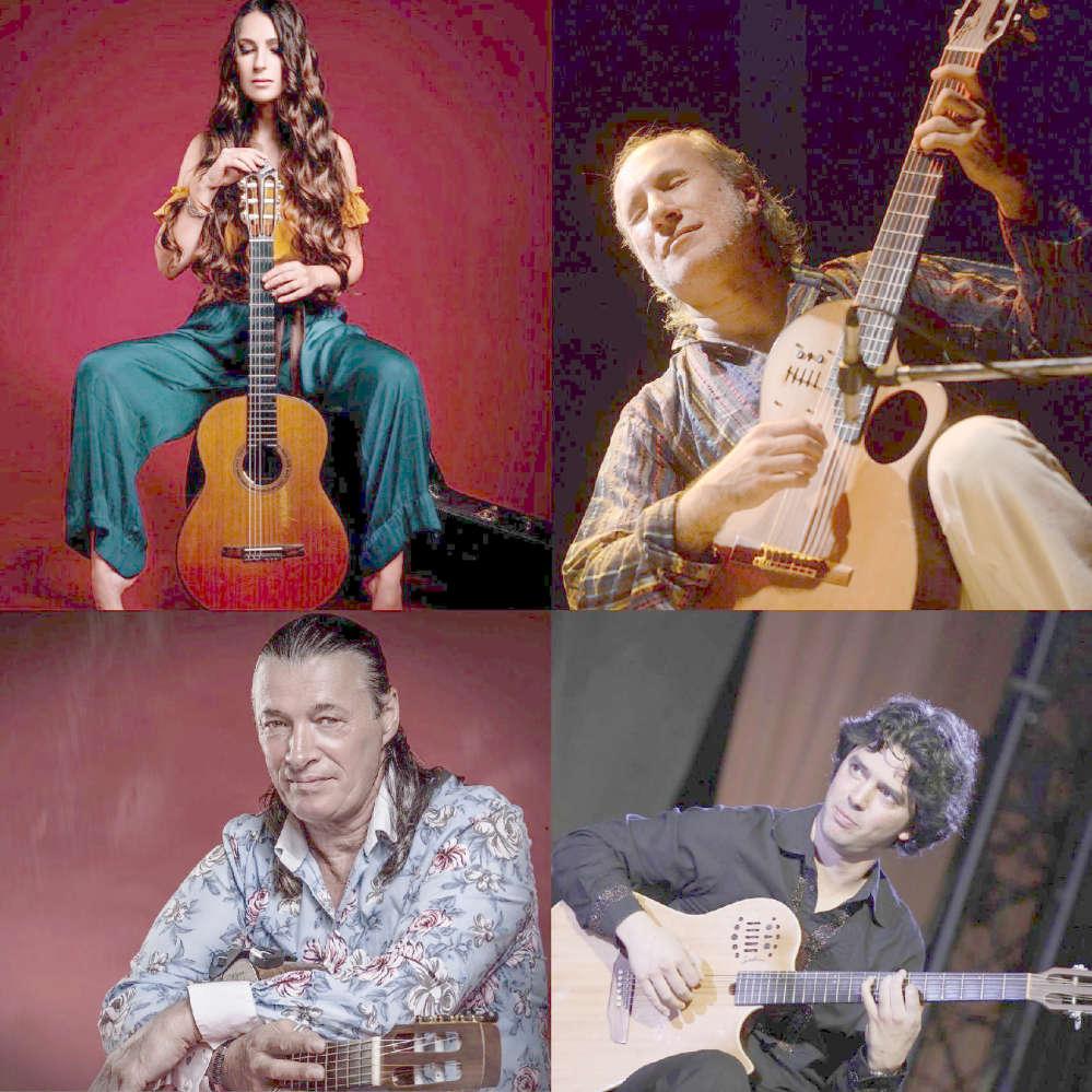 Collage mit 4 Gitarristen