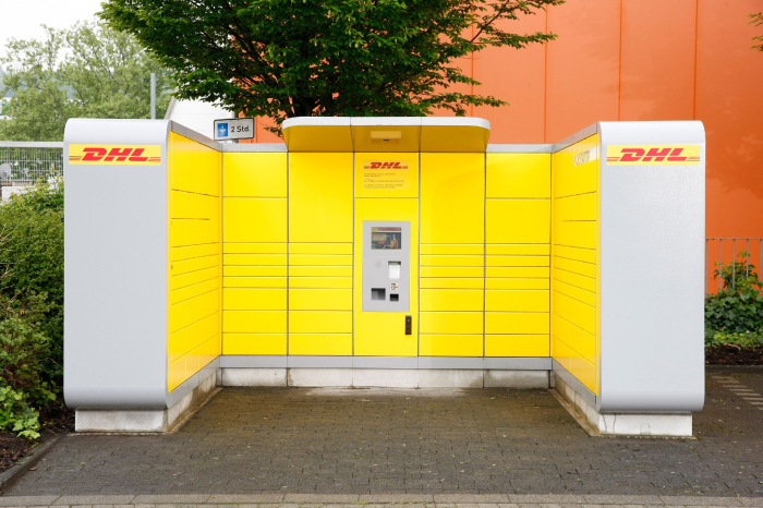 DHL-Packstation in Grau-Gelb