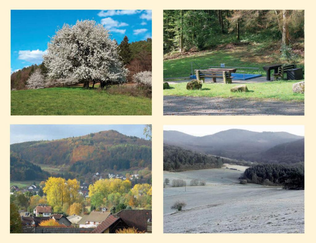 Vier Bilder vom Dorfkalender - Blick auf Kombach