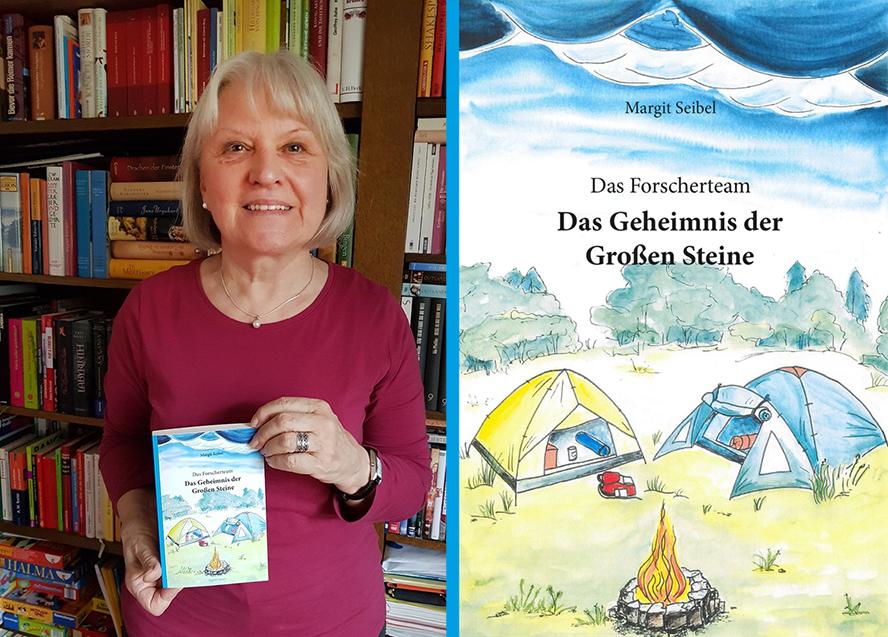 Eine Dame um die 60 präsentiert ihr Buch