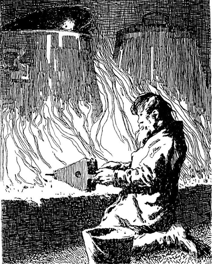 Zeichnung . Mann facht ein Feuer an.