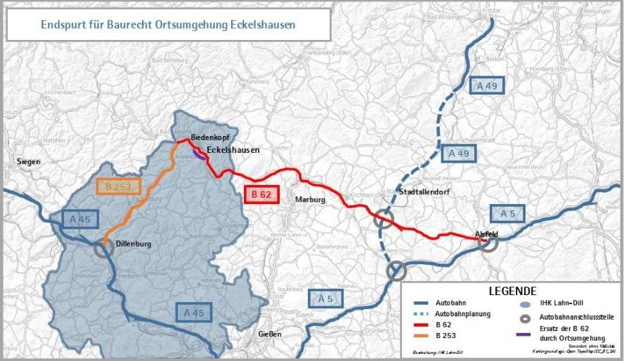 Karte der Region mit eingezeichneten Autobahnen und Bundesstraßen