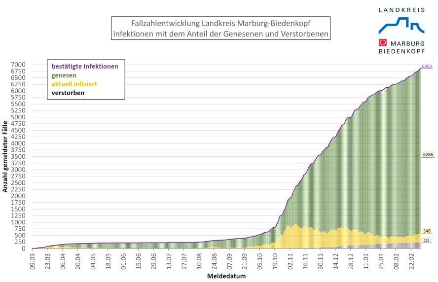 Grafik mit den Infiziertenzahlen im Landkreis marburg-biedenkopf